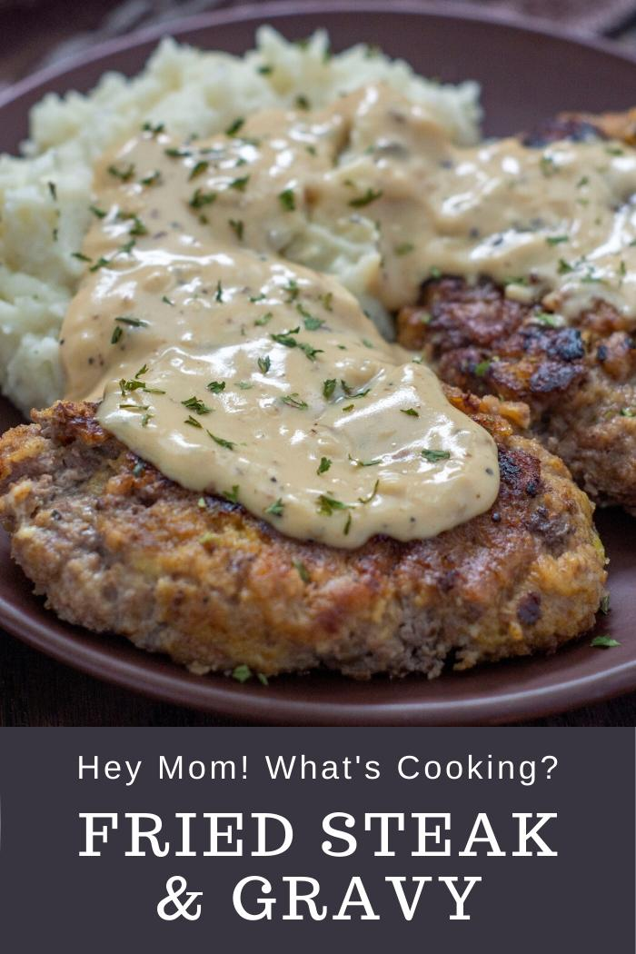 chicken fried steak with easy gravy from hey mom whats cooking
