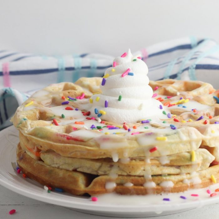 delicious kids favourite sprinkle waffles with squirty cream for sleepover parties