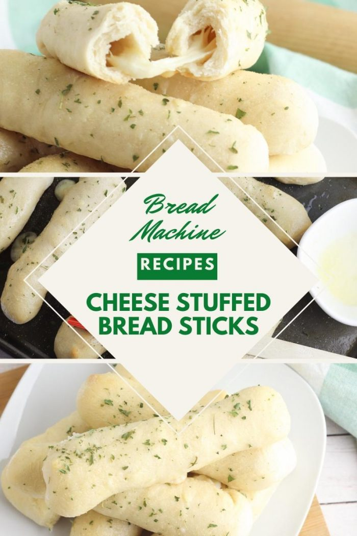 collage of cheese stuffed breadsticks with text reading Bread Machine recipes cheese stuffed bread sticks