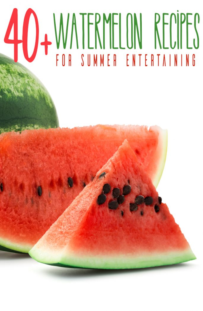 slice of water melon on a white background with text reading 40+ watermelon recipes